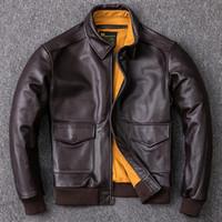 primeiro jaquetas de couro da motocicleta venda por atacado-2019 A2 Pilot Jaqueta de couro genuíno Men Primeira camada do couro Bomber Jacket Locomotive Motociclista Brasão de couro