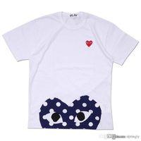 mavi gömlek beyaz polka noktalar toptan satış-Toptan En İyi Kalite Sıcak TATİL Kırmızı Mavi Kalp Emoji Polka Dot Oyna Aşağı Upside Ile Kalp T-Shirt (Beyaz)