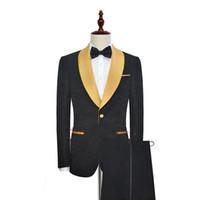 trajes de fiesta de oro negro esmoquin al por mayor-Negro con esmalte de oro solapa Un botón Hombres de la moda Esmoquin para el baile de fin de curso Traje de fiesta de boda (Blazer + Pantalones) Por encargo