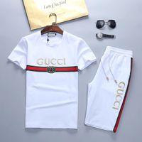 erkekler için spor kıyafeti toptan satış-Tyu yaz Tişörtü Ter Erkek Giyim erkek kısa Eşofman Ceketler Spor Setleri Koşu Hoodies Suit moda spor salonu arı baskılı