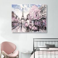 Wholesale paris street paintings resale online - Laeacco Nordic Canvas Painting Calligraphy Paris Posters Prints Spring Street Art Wall Pictures for Living Room Home Decoration