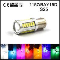 led-leuchten für autos großhandel-1x P21 / 5W LED Auto Licht BAY15D LED Birne 1157 Heck Signal Bremse Stop Reverse DRL Licht 5W 12V 5630 33 smd Gelb Weiß Blau