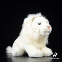 ingrosso bambola reale bianca-Cute Doll Leone africano Giocattoli Morbidi Real Life Plush Animals Toy White Lions Dolls Present Rare