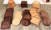 hölzerne bierdeckel großhandel-100 teile / los 8,8 cm Buche Walnuss Holz Untersetzer Holz Tasse Kaffee Tee Tasse Pads Trinkmatten Teekanne Untersetzer