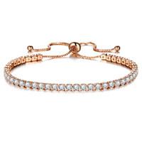 gold tennis armband kristalle großhandel-Zirkon Armband funkelnden Kristall Push-Pull-Armband, Damen Gold Bohrer einreihig Schmuck Großhandel