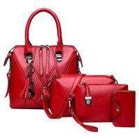 Wholesale red fringe purse resale online - 4Pcs Women Fashion Pattern Solid Fringe Purse Messenger Bag Handbag Wallet PU leather Shoulder bag for female Bolso femenino