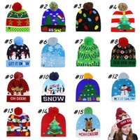 Wholesale kid crochet hat for sale - Group buy Christmas Knitted Hats LED Kids Baby Winter Warmer Beanies Crochet Cartoon Caps Party Decor Xmas gift styles ZZA1531