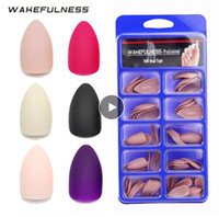 Wholesale black false nail resale online - 100pc Matte False Nail Tips Full Cover Press On Nails Rose Red Black Nude Pink White No adhesive Stiletto Artificial Nail Tips