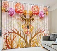 animales de mármol al por mayor-cortinas de seda de lujo animales Mármol 2019 cortina cortinas opacas sala de estar 3d personalizar cualquier tamaño apagón