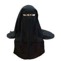 Wholesale veiled faced hats for sale - Group buy Muslim Bandana Scarf Islamic layers Niqab Burqa Bonnet Hijab Cap Veil Headwear Black Face Cover Abaya Style Wrap Head Covering Y191015