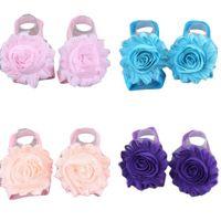 детские ножки оптовых-Красивые шифоновые цветы Baby Flower FootSandal обувь Babykids с лодыжки полосы детские колготки обувь бахилы ног Рождество