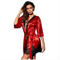 frauen bluse rot schwarz groihandel-Sexy Red Frauen Nachtwäsche Cardigan Tops Halbarm Blau ausgebogte Kimono-Bluse Schwarz-Satin-Spitze blusa feminina
