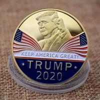 placas de artesanato venda por atacado-Banhado a ouro Trump Metal Craft Coin Emblema 3D Presidente Americano Donald Moeda Moeda Comemorativa Coleção Moeda Presentes HH9-2217