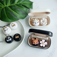 Wholesale cute lens cases resale online - Rabbit and fox contact lens case ladies leather hard cute glasses case lens container gift glasses case