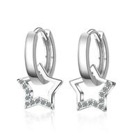 полые серьги обруча оптовых-Wholesale 6 pairs Hollow Star Zirconia Pendant Earrings Silver Small Hoop Huggies Earrings Wedding Party Jewelry Gifts for Women