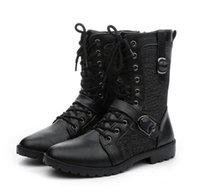 Wholesale military knee high boots men resale online - 2019 new men s Martin boots trend British four seasons leather boots high tube high men s military boots