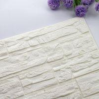 vinilo autoadhesivo de ladrillo al por mayor-DIY 3D Ladrillo de espuma PE papel pintado paneles de la sala de la etiqueta de la decoración en relieve de piedra