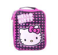 сумка для завтрака черная оптовых-Cute Hello Kitty Love Hearts Girls Изолированный Обед Сумка для Детей Школьный Черный Розовый Тепловой Lunch Box Сумки для Пикника