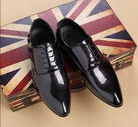 mens dress formal patent leather pointed toe lace up shoes wedding Size Prom SZ