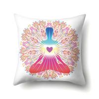 ingrosso tatuaggi casa-Yoga Chakra Cuscino Decorativo Buddhas Occhi Tatuaggio Cultura Buddista Copertura Pelle Peach 17 stili Tessili per la casa 4qy E1