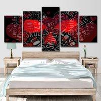 abstrakte schädelmalereien großhandel-5 Stück Leinwand Kunst Malerei HD Druck Raumdekoration Sweet Rosa Rot Herz Liebe Schädel Weiß Anzahl Abstrakte Kunst Gemälde
