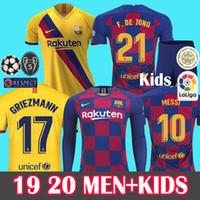 baro adam toptan satış-ERKEKLER + ÇOCUKLAR 2019 2020  Barcelona Soccer Jersey Futbol Forması Camisetas de Fútbol 19 20 Barca Messi DE JONG GRIEZMANN Rakitic Futbol Forması kitleri Setleri Üniforma