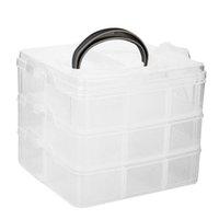 contenedores de almacenamiento ajustables al por mayor-Caja de contenedores de caja de joyas con organizador de joyas ajustable de 3 capas de 18 rejillas con divisores extraíbles