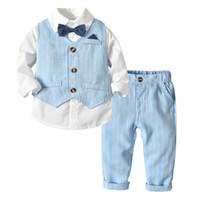 bebek erkek takım elbiseleri toptan satış-Erkek Takım Elbise Blazers Elbise Düğün Için Resmi Örgün Parti Çizgili Bebek Yelek Gömlek Pantolon Çocuklar Çocuk Giyim Giyim Seti