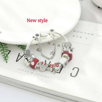 ingrosso fascini per natale-16-21CM charms in argento 925 fit per pandora braccialetto europeo Charm Bead Accessori Gioielli da sposa fai da te con confezione regalo per ragazza Natale