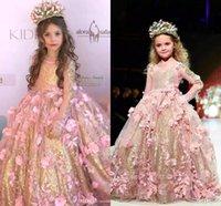 çiçek el modeli toptan satış-2019 Lüks Sparkly Balo Çiçek Kız Elbise Tırmanmak El Yapımı Çiçekler Prenses Kız Pageant elbise Kız Birtday Pageant elbise