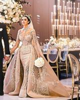 appliques für brautkleider großhandel-2019 Arabisch langen Ärmeln Spitze-Nixe-Hochzeits-Kleid-Ausschnitt Applique Sweep Zug Hochzeit Brautkleider mit über Röcke BC1096
