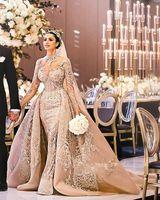 vestidos de noiva vintage venda por atacado-2019 Árabe mangas compridas Lace Mermaid vestidos de casamento gola alta Applique Trem da varredura de casamento vestidos de noiva com mais de Saias BC1096