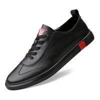 ingrosso tendenze in gomma scarpe-Uomini scarpe casual in vera pelle uomo stringate nuove scarpe da ginnastica moda suola in gomma antiscivolo appartamenti in pelle tendenza studente selvaggio C4