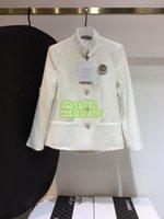yapay elmas broş mini toptan satış-Kadın Tüvit Blazer Rhinestone İnci Broş Ile Tops Ipek İç Ceket Kızlar En Kaliteli Tüvit Standı Yaka Ceket Pist Kadın Suits