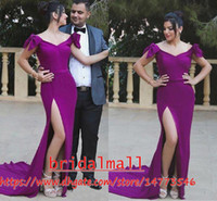 Wholesale arabic fashion evening dresses resale online - Purple Satin Evening Dresses Mermaid Bowknot Off The Shoulder Formal Party Gowns Dubai High Side Split Arabic Prom Dress Robe de soirée