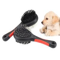 herramientas de masaje de plástico al por mayor-Cepillo de pelo de perro de doble cara Gato de mascota Aseo Herramientas de limpieza Peine de masaje de plástico con aguja DHL Ship WX9-1341
