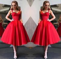 kız boyunları tasarımı toptan satış-Yeni Tasarım Pretty Kırmızı Mezuniyet Elbiseleri Sevgiliye Boyun Spagetti Çay Boyu Kız Akşam Parti Elbiseler Kokteyl Elbise BC1945