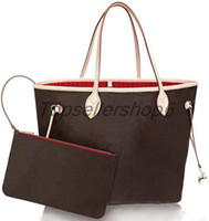 Wholesale gold travel bags resale online - Genuine cowhide women tote shopping handbag purse luxury designer leather clutch travel flower check shoulder bags