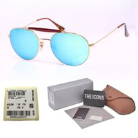 Wholesale steampunk mirrored glasses resale online - 1pcs Brand Designer gradient glass lens Steampunk Sunglasses Men Women Oval Metal frame Retro glasses With Retail box and label