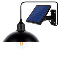 ampoules solaires suspendues achat en gros de-Lumière solaire pendant de jardin de lampe rétro de lustre d'ampoule solaire avec la lampe solaire de la corde 16Ft suspendue pour le café extérieur