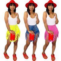 kadın elastik bel kot şort toptan satış-Püskül Denim Şort 3 Renkler Kadınlar Casual Elastik Yüksek Bel Kısa Kot Yaz Streetwear Şort OOA7007