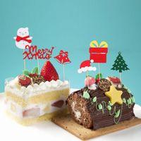 tarjeta de cumpleaños de navidad al por mayor-Christmas Glitter Snowman Elk Xmas Tree Toothpick Card Inserted Cake Toppers Picks For Christmas Birthday Cake Decoration Supply