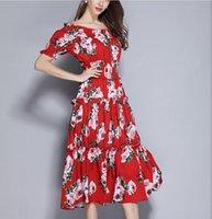 ingrosso vestiti lunghi rossi corti-abito monospalla stampato a palloncino rosso Abito da passerella Abito da donna a maniche lunghe in vita elasticizzata con maniche lunghe abito stampato gonna stampata
