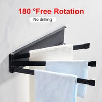 Wholesale folding hanger space resale online - Hanger Swivel Space Aluminum Degree Rotating Bath Home Towel Rack Wall Mounted Rail Anti Skid Holder Folding Adhesive