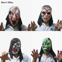 maskeli parti süslemeleri toptan satış-Cadılar Bayramı Korku Maskesi Masquerade Zombi Maskeler Malzemeleri Cadılar Bayramı Dekorasyon Kanlı Rot Parti Bar Topu Cosplay Prop Maske