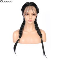 Wholesale twist hair for braiding resale online - Oubeca Synthetic Long Senegalese Twist Braids Lace Front Wigs With Baby Hair Mid Part Black Braided Straight Lace Wigs For Women Y190717