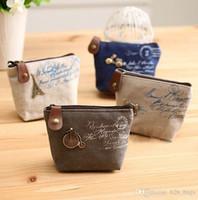 anahtar cüzdan organizatörü toptan satış-Kadın tuval sikke çanta tuşları cüzdan Çanta değişim cep tutucu organizatörü Retro Madeni Para Çanta Taşınabilir Mini Cüzdan Zip Para Çantaları