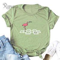 ingrosso donne di stampa animale-Romacci T-shirt Taglie forti Donna Cartone animato Animal Bird Numeri Flamingo Stampa camiseta feminista Girocollo Manica corta Divertente