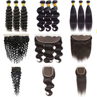 Wholesale brazilian water wave hair weave resale online - Indian Straight Human Hair Bundles with Frontal Brazilian Body Wave Virgin Hair Bundles with Closure Water Deep Wave Kinky Curly Weaves