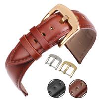 ingrosso orologi in metallo nero per le donne-Cinturino in vera pelle nera 18 19 20 21 22 24mm Donna Uomo morbida cinturino liscio con fibbia in metallo oro argento